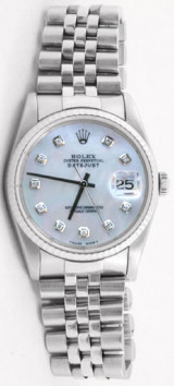 Rolex Men's Datejust Model 16014 Stainless Steel Jubilee Band With A Custom Added MOP Diamond Dial & Fluted Bezel