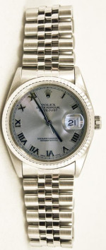 Rolex Men's Datejust Model 16014 Stainless Steel Jubilee Band With A Factory Silver Roman Dial & Fluted Bezel