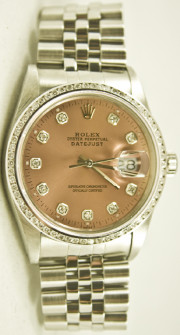 Rolex Men's Datejust Model 16014 Stainless Steel Jubilee Band With A Custom Added Salmon Diamond Dial & 1CT Diamond Bezel