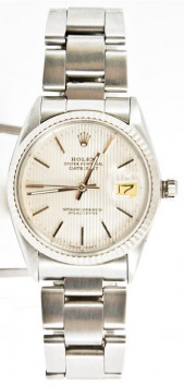 Rolex Men's Datejust Model 16014 Stainless Steel Oyster Band With A Factory Silver Tapestry Dial & White Gold Fluted Bezel