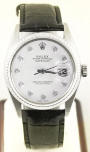 Rolex Men's Datejust Model 16014 Stainless Steel With A Black Leather Band & Custom White Diamond Dial And A Fluted Bezel