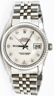 Rolex Men's 36mm Datejust Model 16030 Stainless Steel Jubilee Band With A Custom Mother Of Pearl Diamond Dial & Engine Bezel