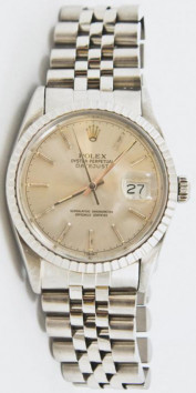 Rolex Men's 36mm Datejust Model 16030 Stainless Steel Jubilee Band With A Factory Silver Stick Dial & Engine Bezel