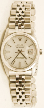 Rolex Men's 36mm Datejust Model 16030 Stainless Steel Jubilee Band With A Factory White Stick Dial & Smooth Bezel