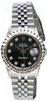 Rolex Datejust Midsize Perfect Condition Model 68240 Stainless Steel Jubilee Band w Custom Added Black Diamond Dial and 1ct Diamond Bezel-90's