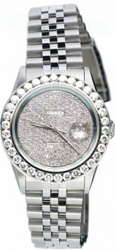 As NEW Display Model Rolex Datejust Men's Model 16200 Stainless Steel Jubilee Band with Custom Added Pave Diamond Dial and 2ct Diamond Bezel - 90's