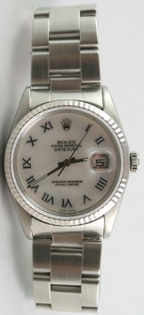 Rolex Datejust Men's Model 16234 Stainless Steel Oyster Band w/Custom Added MOP Roman Dial-2000's