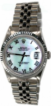 Rolex Datejust Men's Perfect New Condition Model 16200 Stainless Steel Jubilee Band w/ Sleek Custom Added White Blue MOP Diamond Dial and WG Bezel-90's