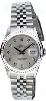 Rolex Datejust Midsize Perfect Condition Model 68240 Stainless Steel Jubilee Band w/ Custom Added Silver Diamond Dial and 1ct Diamond Bezel-90's