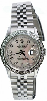 As NEW Display Model Rolex Datejust Men's Model 16200 Stainless Steel Jubilee Band with Custom Added 2ct Diamond Bezel and MOP String Diamond Dial - 2000's