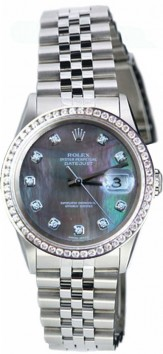 Rolex Datejust Men's Perfect New Condition Model 16200 Stainless Steel Jubilee Band w/Custom Added Diamond Bezel and Tahitian-Dark MOP Diamond Dial-90's