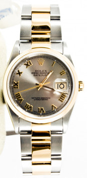 Rolex Men's Datejust Model 16203 Stainless Steel & 18k Gold Oyster Band With Factory Silver Roman Dial And A Smooth Gold Bezel