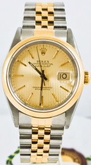 Rolex Men's Datejust Model 16203 Stainless Steel & 18k Gold Jubilee Band With Factory Champagne Tapestry Dial & 18k Smooth Gold Bezel