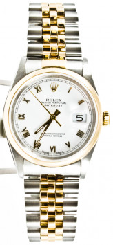 Rolex Men's Datejust Model 16203 Stainless Steel & 18k Gold Jubilee Band White Roman Dial & Smooth Bezel