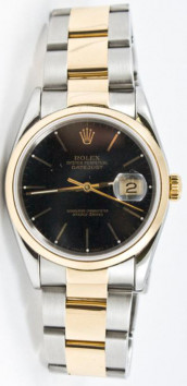Rolex Men's Datejust Model 16203 Stainless Steel & Yellow Gold Watch Factory Black Stick Dial & Gold Smooth Bezel