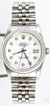 Rolex Men's Datejust Model 16220 Stainless Steel Jubilee Band With A Custom White Diamond Dial & Engine Turned Bezel