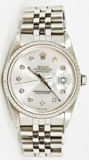 Rolex Men's Datejust Model 16220 Stainless Steel Jubilee Band With A Custom Silver Diamond Dial & Engine Turned Bezel