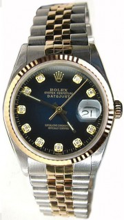 Rolex Datejust Midsize Perfect Condition Model 68273 Steel and Gold Jubilee Band w/ Custom Added Blue Vignette Diamond Dial and 18K Gold Fluted Bezel-90's