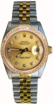 Rolex Datejust Midsize Perfect Condition Model 68273 Steel and Gold Jubilee Band w/ Custom Added Diamond Dial and Bezel-90's
