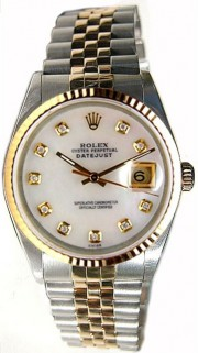 Rolex Datejust Men's Perfect Condition Model 16233 Steel and Gold Jubilee Band w/ Custom Added Mother of Pearl Diamond Dial-90's