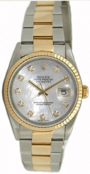Rolex Datejust Men's Perfect Condition Model 16233 Steel and Gold Oyster Band w/Custom Added White Mother of Pearl Diamond Dial-90's