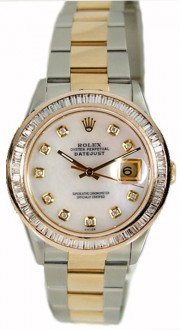 Rolex Datejust Men's Perfect Condition Model 16233 Steel and Gold Oyster Band w/Custom Added 1ct Baguette Diamond Bezel and Mother of Pearl Diamond Dial-90's