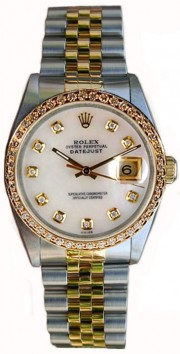 Rolex Datejust Men's Perfect Condition Model 16233 Steel and Gold Jubilee Band w/ Custom Added Bead Set Diamond Bezel and Mother of Pearl Diamond Dial-90's