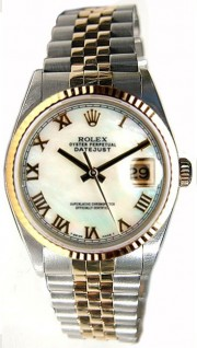Rolex Datejust Midsize Perfect Condition Model 68273 Steel and Gold Jubilee Band w/Custom Added Mother of Pearl Roman Dial-90's