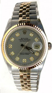 Rolex Datejust Midsize Perfect Condition Mode 68273 Steel and Gold Jubilee Band w/Custom Added Diamond Dial and Bezel-90's