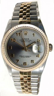 Rolex Datejust Midsize Perfect Condition Model 68273 Steel and Gold Jubilee Band w/ Slate Arabic Numeral Dial-90's