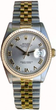 Rolex Datejust Midsize Perfect Condition Model 68273 Steel and Gold Jubilee Band w/ Slate Roman Dial and Fluted Bezel-90's