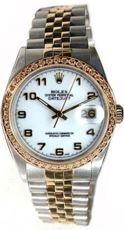 Rolex Datejust Midsize Perfect Condition Model 68273 Steel and Gold Jubilee Band w/ White Arabic Dial And Custom Added Diamond Bezel-90's