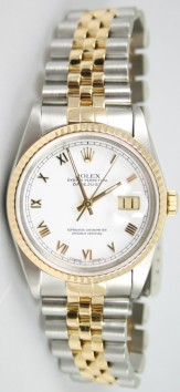 Rolex Datejust 68273 Midisze Steel and 18K Gold Jubilee Band in Perfect Condition Model, White Roman Marker Face