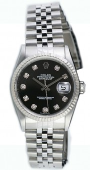 Rolex Datejust Midsize Model 68274 Stainless Steel Jubilee Band with Custom Added Black Diamond Dial and WG Bezel
