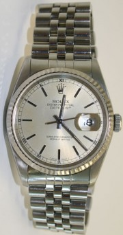 Rolex Datejust Midsize Stainless Steel Jubilee Band w/Silver Stick Marker Dial And 18k White Gold Fluted Bezel