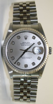 Rolex Midsize Datejust Model 68274 Stainless Steel Jubilee Band Custom Silver Diamond Dial And 18K White Gold Fluted Bezel