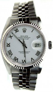 Like New Rolex Datejust Men's Stainless Steel Jubilee Band w/White Roman Dial and WG Bezel-80's