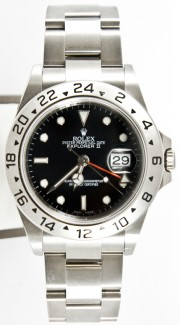 "Rolex 40mm Explorer Ref 16570 ""Bezel Engraved"" Model Stainless Steel Oyster Band Black Face & 24 Hour Bezel"