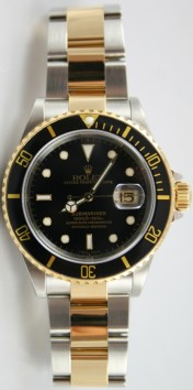 "Rolex Submariner 16613 Stainless Steel and Gold Black Dial ""New Style Gold-Thru Clasp"" Mint Condition"