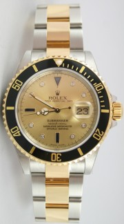 Rolex Submariner 16613 Stainless Steel and 18K Gold with Factory Original Champagne Serti Diamond and Sapphire Dial