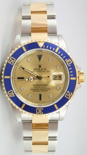 Rolex Submariner 16613 Stainless Steel and 18K Gold with Factory Original Champagne Serti Diamond and Sapphire Dial 2009