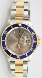 Rolex Submariner 16613 Stainless Steel and 18K Yellow Gold Slate Serti Sapphire & Diamond Dial Mint Condition- 90's