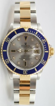 Rolex Submariner 16613 Steel & 18K Gold Slate Serti Diamond and Sapphire Dial, Gold Thru Flip-Lock Clasp, Perfect and Mint 2000-2001 Model
