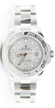 Rolex Yachtmaster 16622 Stainless Steel Platinum Bezel and Face Full-Size-Inner Bezel Inscription Perfect Display Model Like New