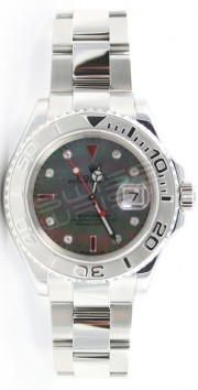 Rolex Yachtmaster Full-Size Unused Stainless Steel & Platinum Bezel Model 16622 Custom Dark Mother of Pearl Ruby and Diamond Bezel