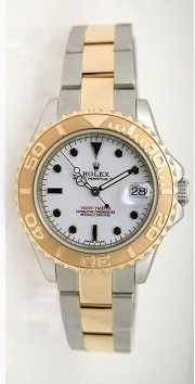 Rolex Yachtmaster 168623 Steel and Gold Mid-Size White Face W/ Onyx Hour Markers