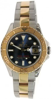 "Rolex Yachtmaster 169623 Ladies Steel & 18K Yellow Gold ""Inner Bezel Engraved' Model Blue Face Unused"