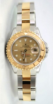 Rolex Yachtmaster Model 169623 Ladies Stainless Steel & 18K Yellow Gold Champagne Dial