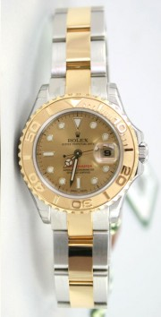 "Rolex Yachtmaster 169623 Ladies Steel & 18K Yellow Gold ""Inner Bezel Engraved' Model Champagne Face Unused"