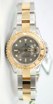 "Rolex Yachtmaster 169623 Ladies Steel & 18K Yellow Gold ""Inner Bezel Engraved' Model Slate Face Unused"